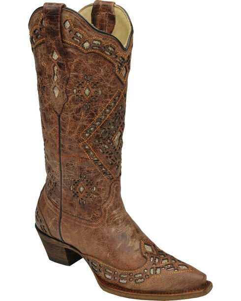 Corral Women's Glitter Inlay Western Boots, Cognac, hi-res