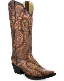 Corral Women's Floral Embroidered Overlay Western Boots, , hi-res