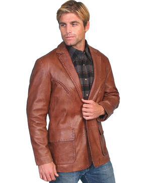 Scully Whipstitch Lambskin Leather Blazer - Reg, Tall, Brown, hi-res
