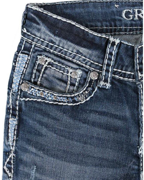Grace In LA Girls' Embroidered Mid-Rise Boot Cut Jeans, Blue, hi-res