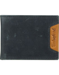 Timberland Men's Cloudy Leather Money Clip, Black, hi-res