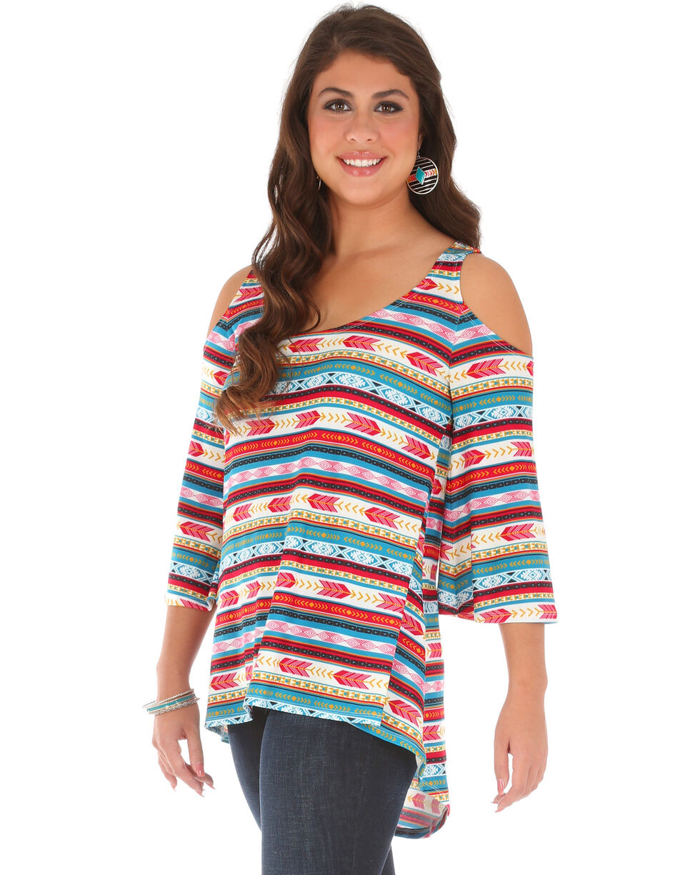 Wrangler Women's Cold Shoulder Hi Lo Aztec Print Tunic, Medium Red, hi-res