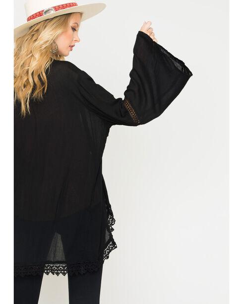 Angie Women's Lace Trim Kimono, Burgundy, hi-res