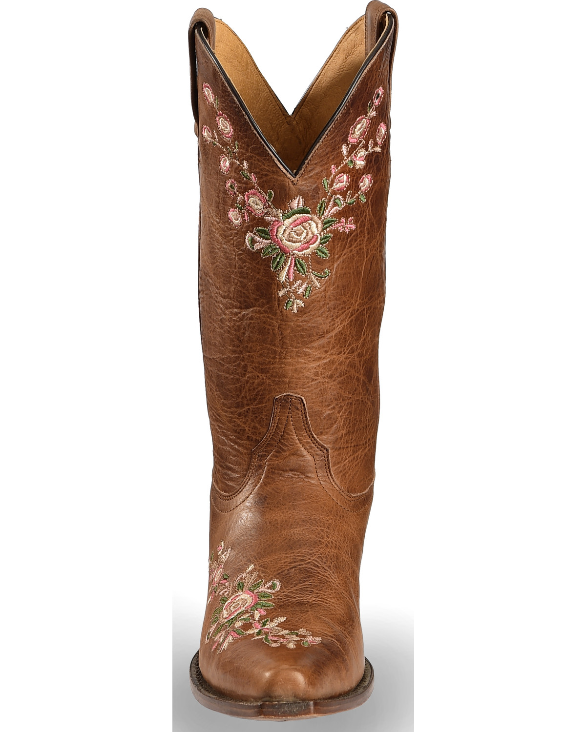 Corral Women's Floral Embroidered Lamb Leather Cowgirl Boots - Snip Toe,  Chocolate, hi-