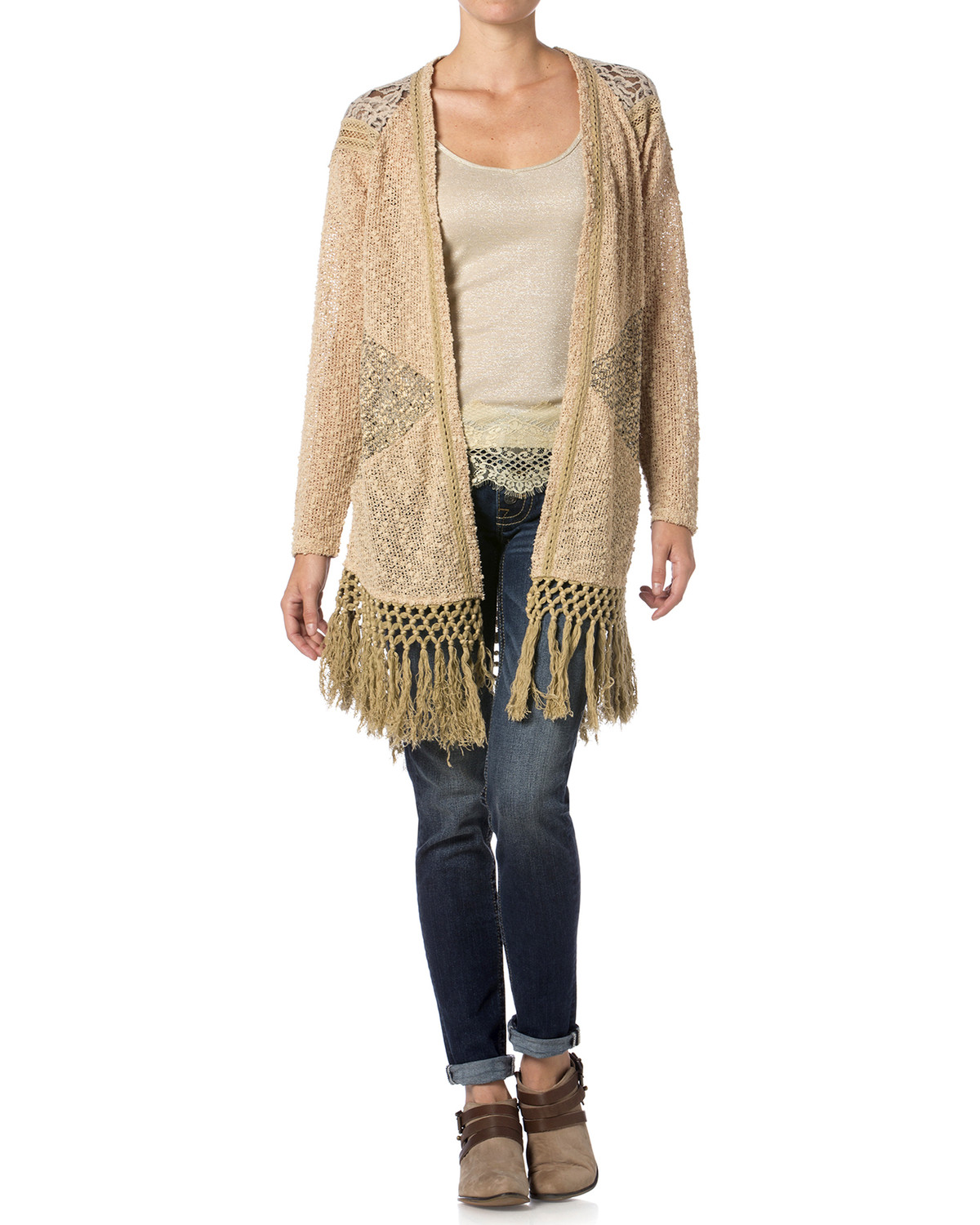 Miss Me Mix Match Lace Knit Cardigan Sweater | Boot Barn