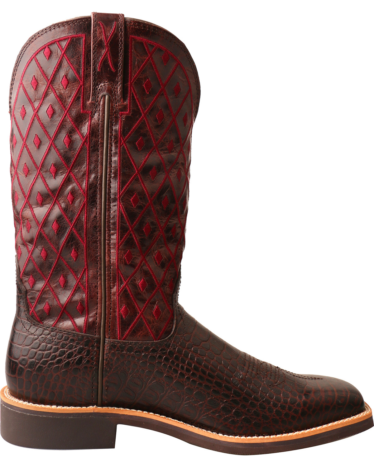 Women's Top Hand Caiman Print Square Toe Cowgirl Boots
