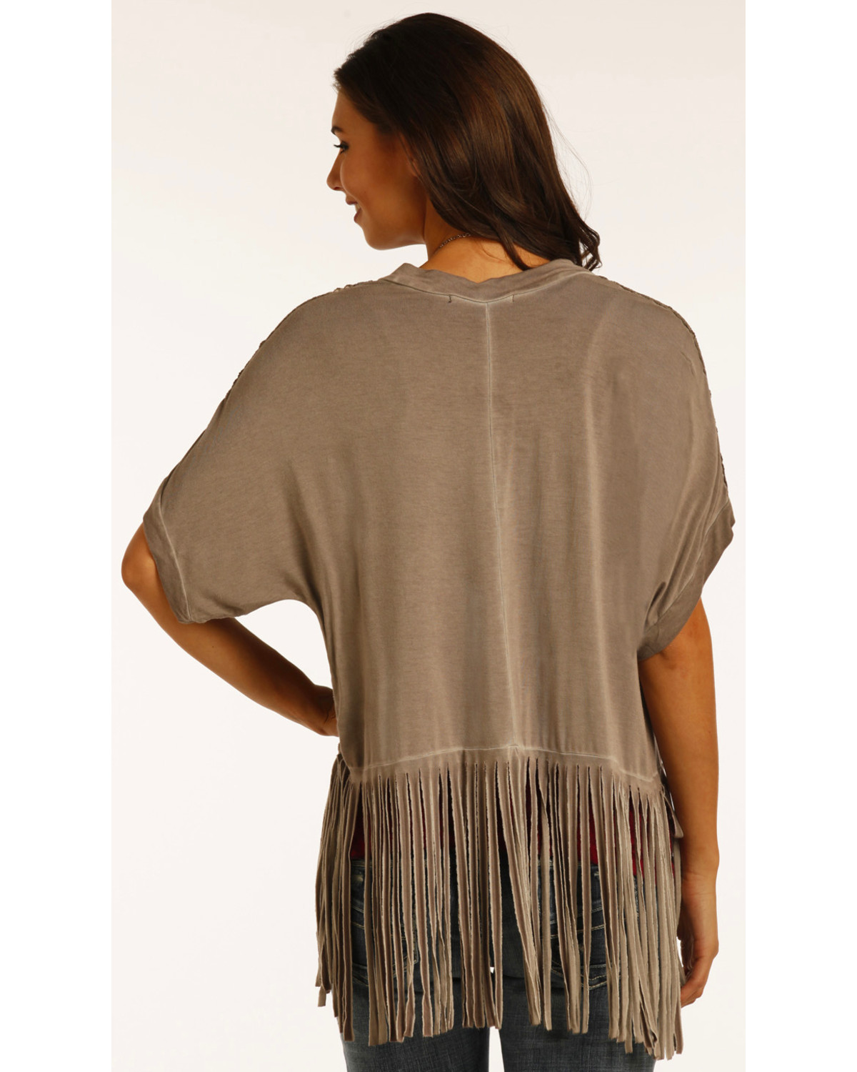 Rock & Roll Cowgirl Women's Brown Open Front Fringe Cardigan ...
