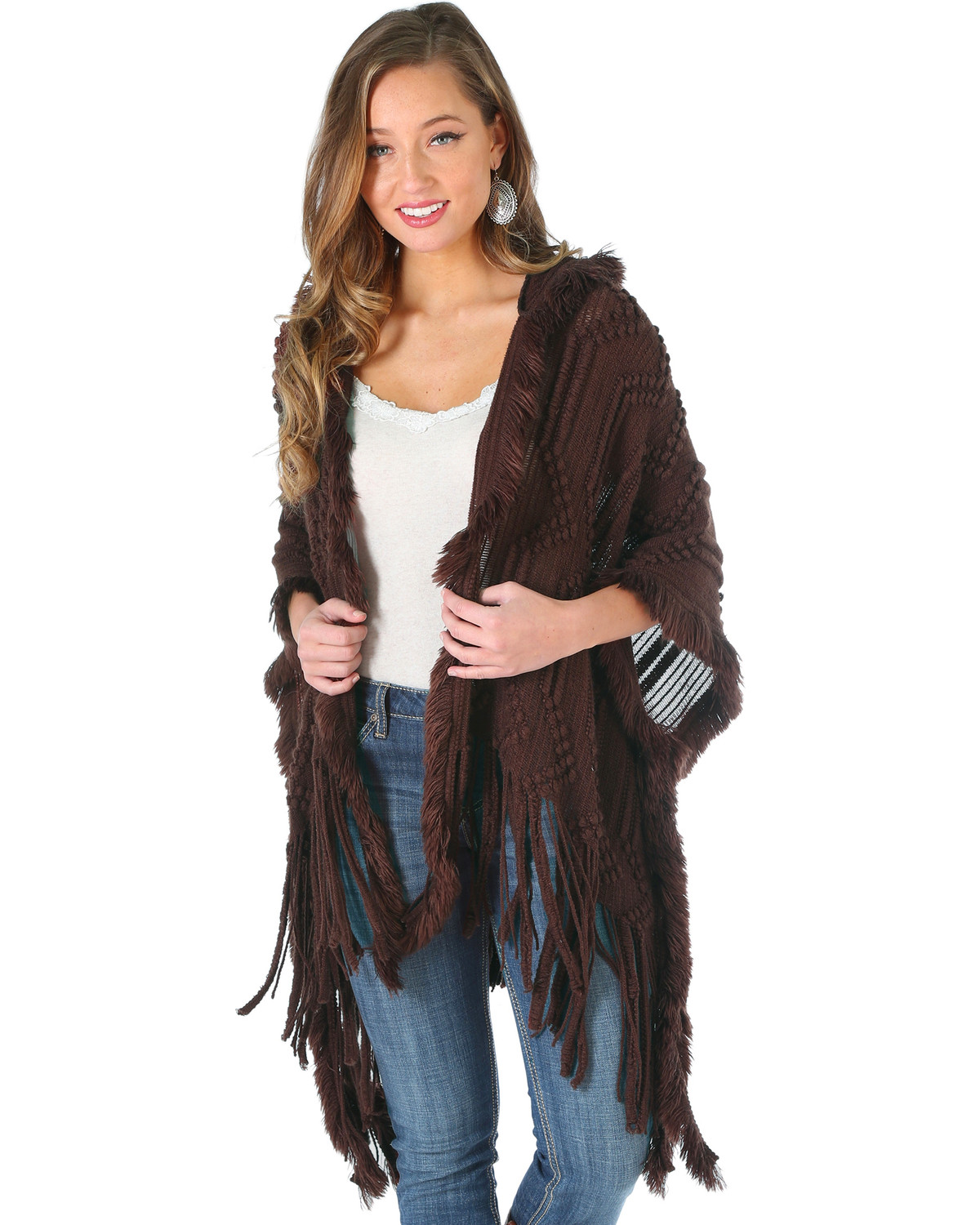 Wrangler Women's Hooded Fringe Cardigan | Boot Barn