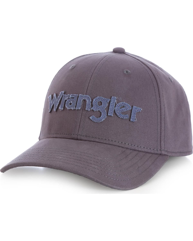 Wrangler men s distressed stretch fit cap charcoal grey hi res