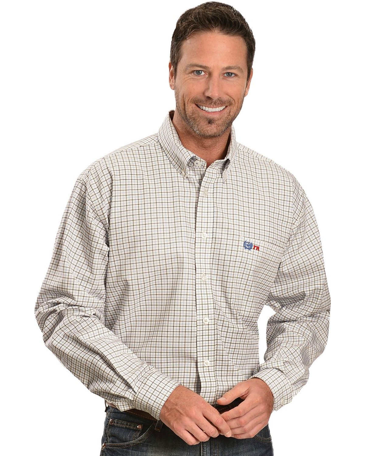 Cinch wrx men 39 s flame resistant long sleeve checkered for Cinch flame resistant shirts