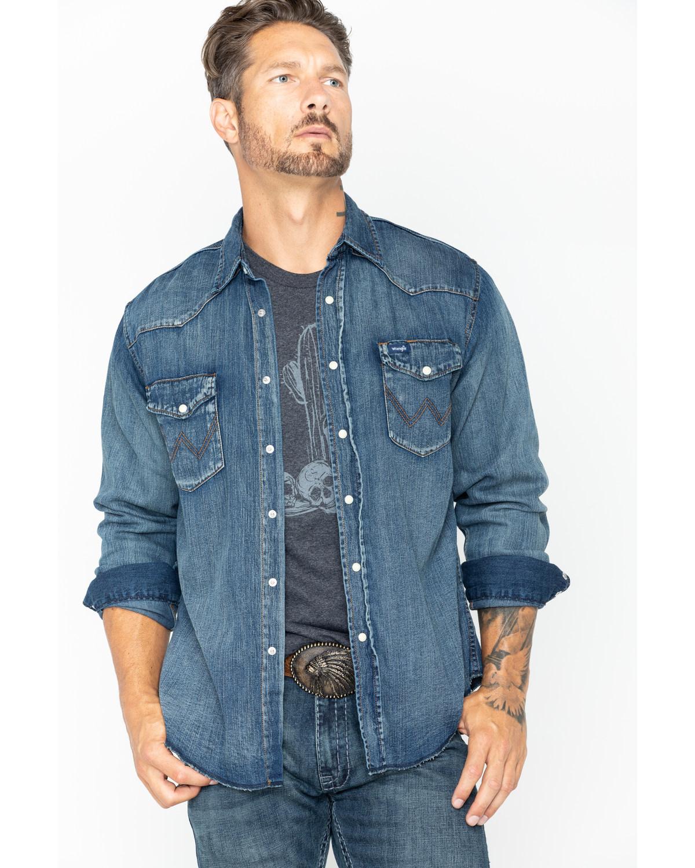 Wrangler cowboy cut men 39 s long sleeve denim work shirt for Mens denim work shirt