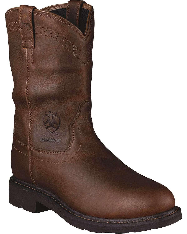 Ariat Mens Sierra H2o Steel Toe Work Boots Brown Hi Res