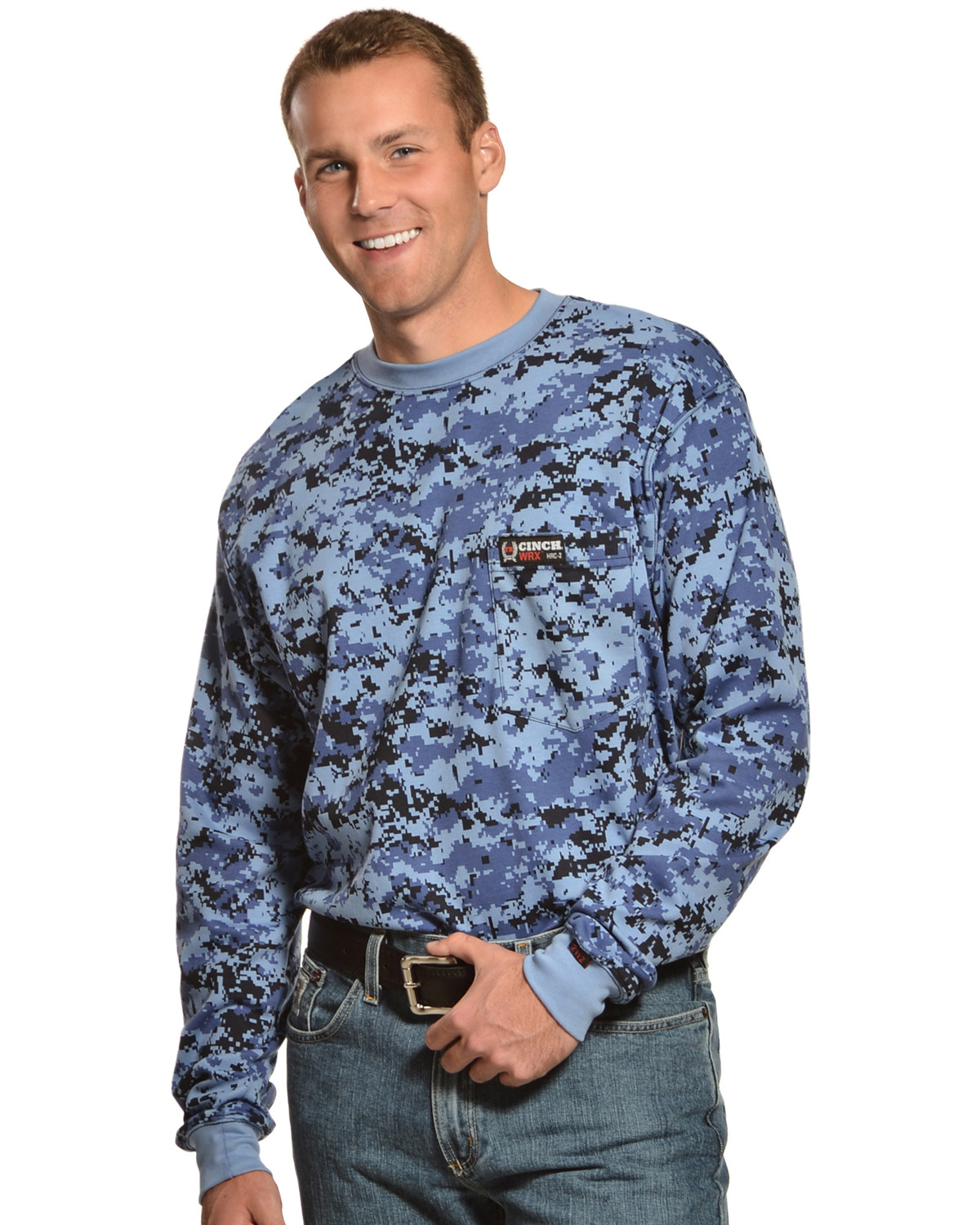 Cinch wrx flame resistant long sleeve camo t shirt boot barn for Cinch flame resistant shirts
