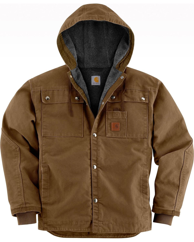 Carhartt Can Cooler ~ Carhartt sandstone hooded sherpa lined multi pocket jacket