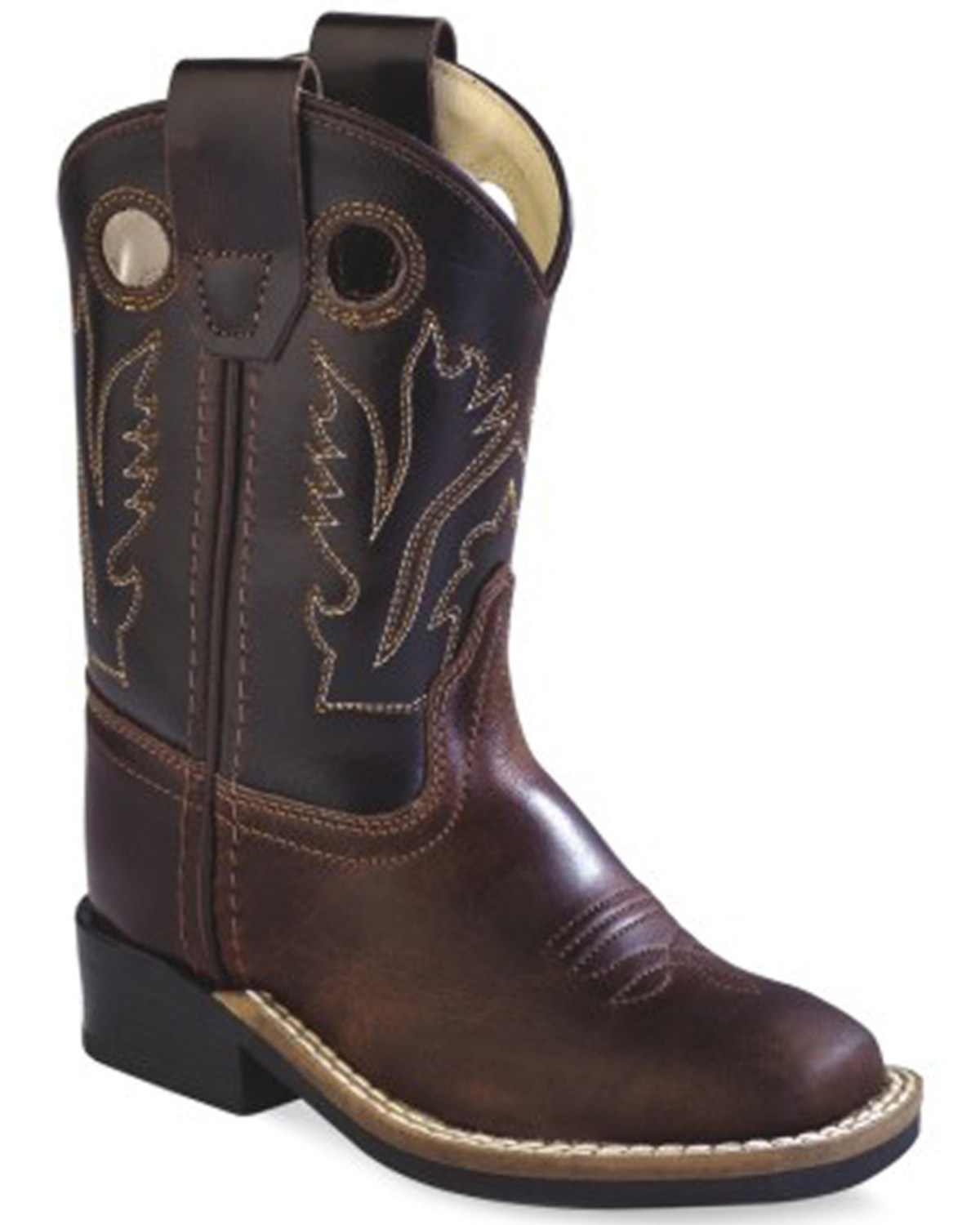 west toddler boys brown western cowboy boots square