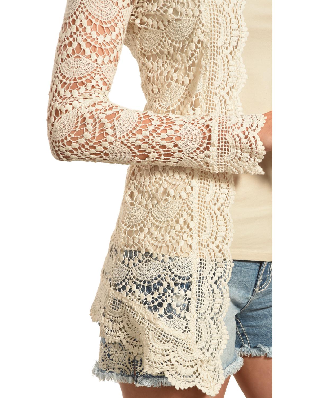 Long lace cardigan - Young Essence Women S Beige Long Sleeve Lace Cardigan Beige Khaki Hi Res