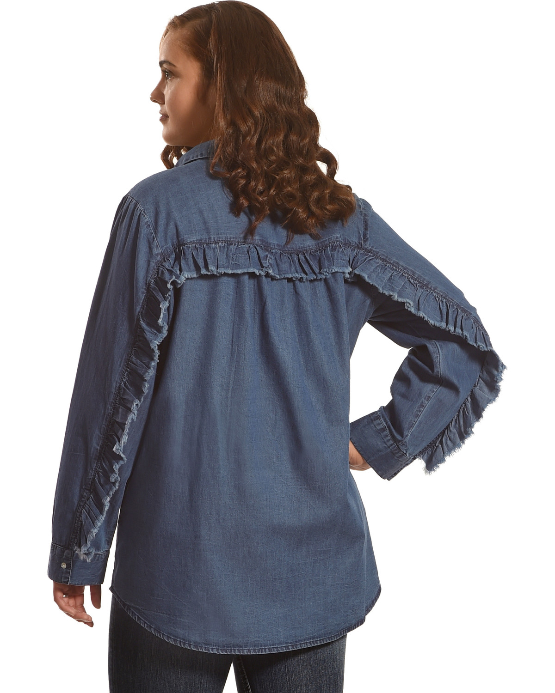 New Direction Women's Ruffle Detail Denim Shirt - Plus Size | Boot ...