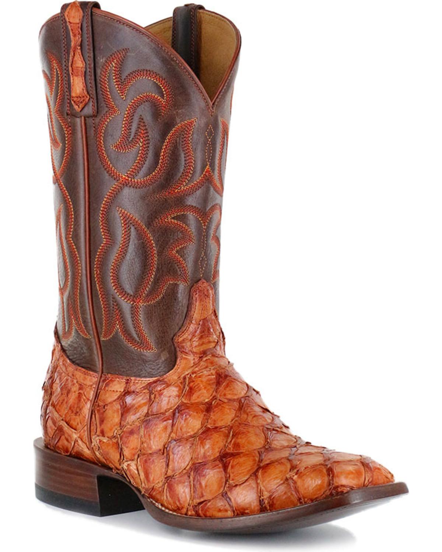 Cody james men 39 s cognac pirarucu exotic boots boot barn for Pirarucu fish boots