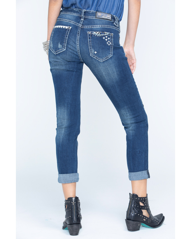 Grace in LA Womenu0026#39;s Medium Blue Patchwork Boyfriend Jeans - Cuff | Boot Barn