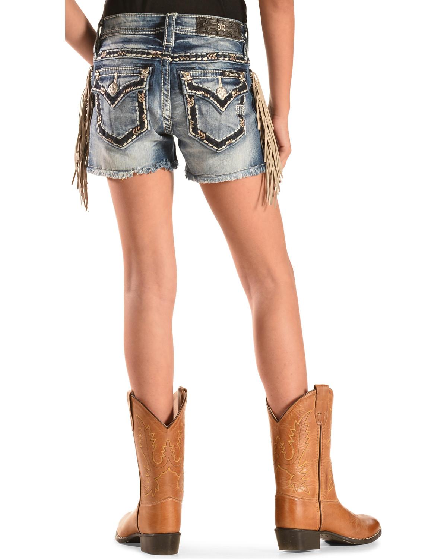 miss me girls fringe cutoff denim shorts boot barn