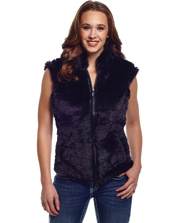 Cripple Creek Women's Faux Fur Black Sweater Vest | Boot Barn