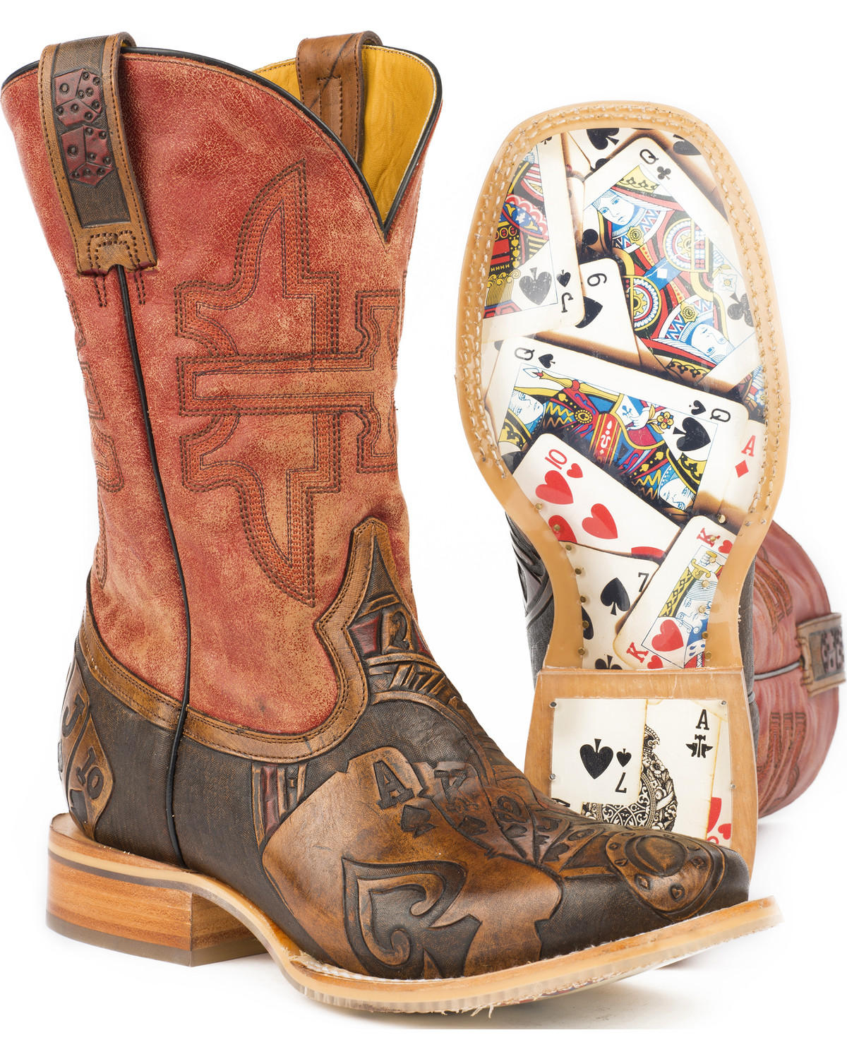 Western boots should fit from the heel to the ball of the foot. The widest part of your foot should be in the widest part of the outsole, regardless of the toe shape. With leather boots, remember that as you continue to wear the boots they will stretch slightly and soften over time. They should fit snug across the instep when they are new.