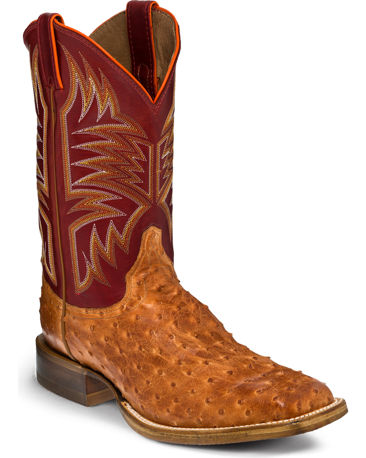 Justin Men S Cognac Full Quill Ostrich Hybrid Sole Cowboy