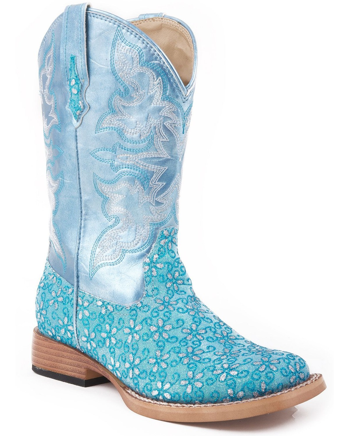 Girls boots boot barn roper kids floral glitter western boots blue hi res izmirmasajfo Images