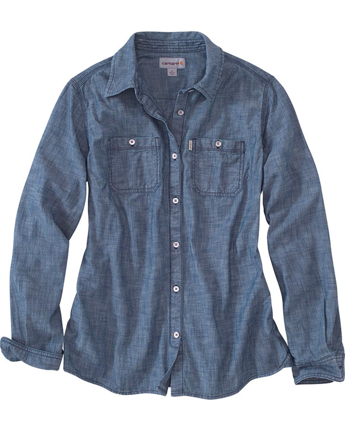 Carhartt women 39 s milam long sleeve chambray shirt boot barn for Chambray 7 s
