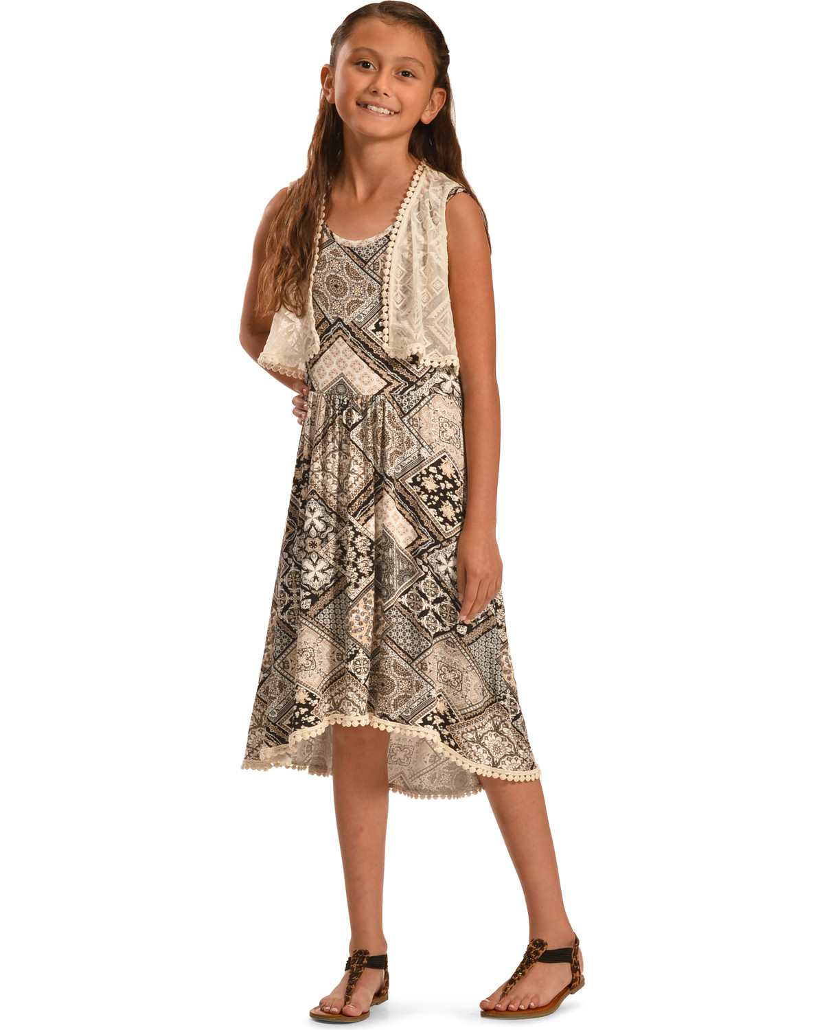 Jody of California Girls' Black Aztec Print Lace Dress ...