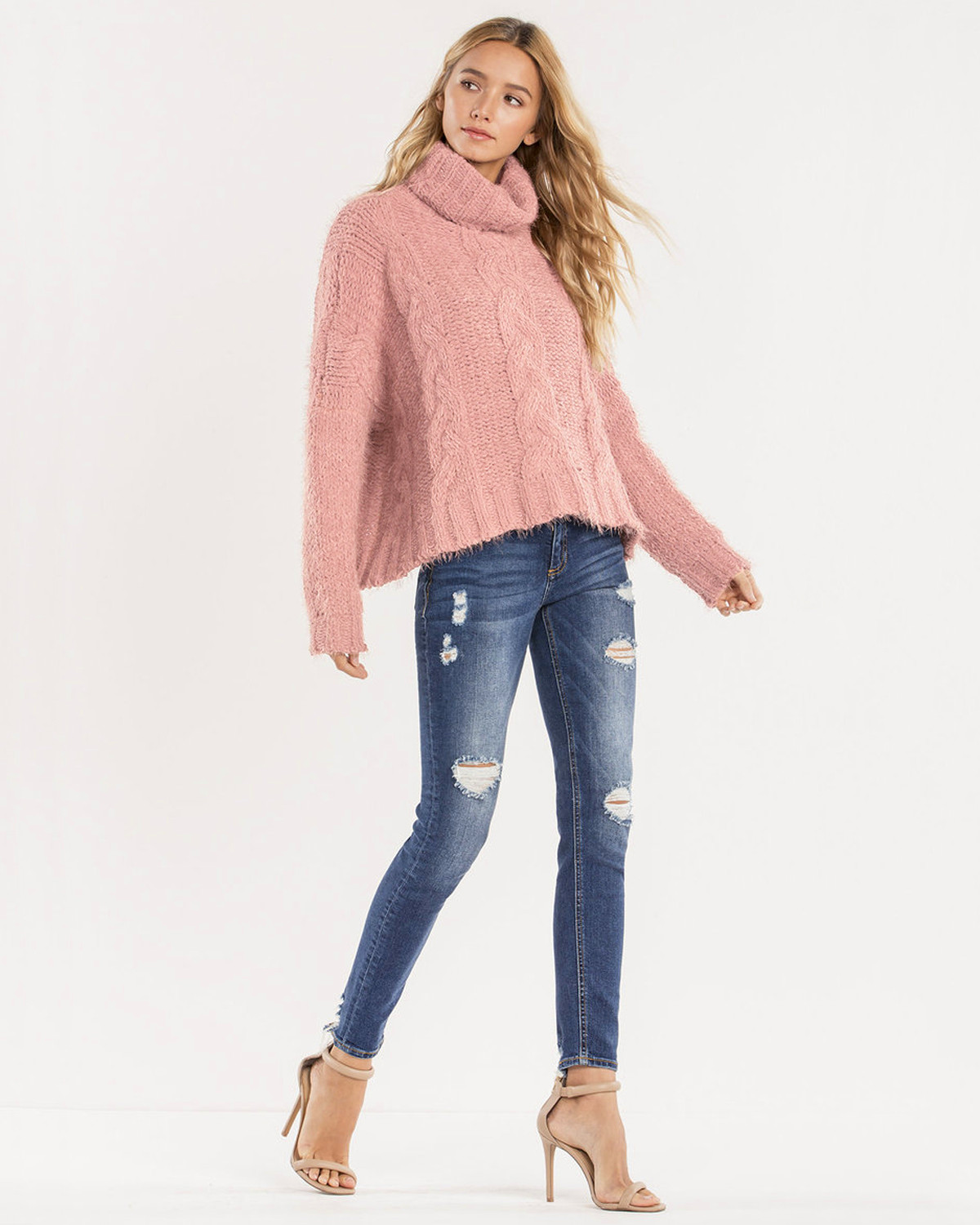 Miss Me Women's Light Pink Cropped Turtle Neck Sweater | Boot Barn