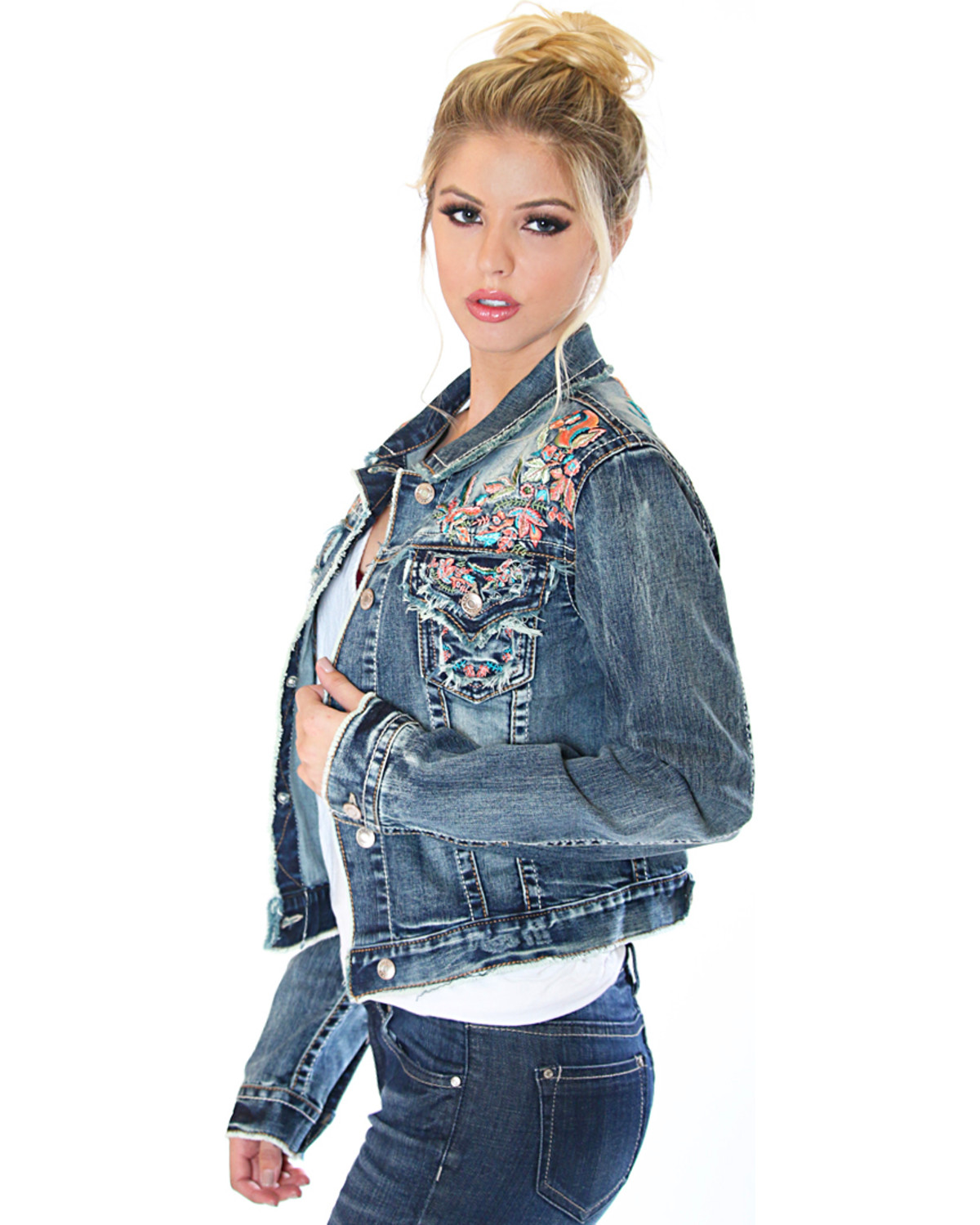Slide View: 1: Aira Floral-Embroidered Denim Jacket
