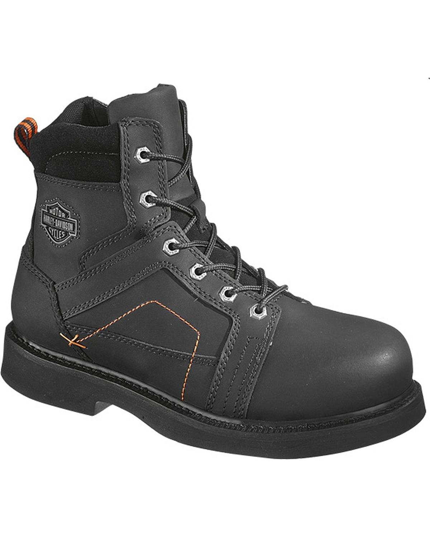 Harley-Davidson Mens Pete Steel Toe Lace Up Motorcycle Boots, Black, hi-