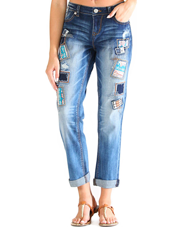 Grace in LA Womenu0026#39;s Light Wash Patched Boyfriend Jeans | Boot Barn