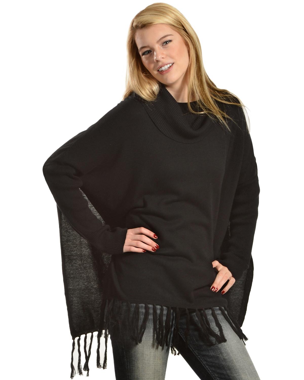 Black Swan Women's Sofia Fringe Trim Cowl Neck Tunic Sweater ...