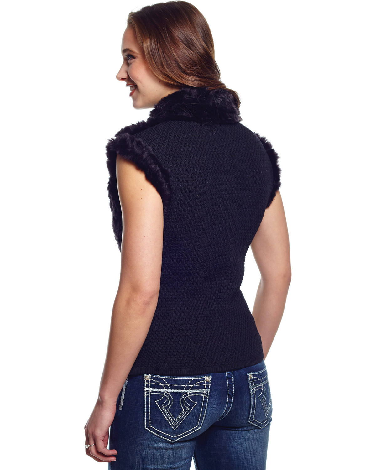 Cripple Creek Women's Faux Fur Black Sweater Vest | Boot Barn