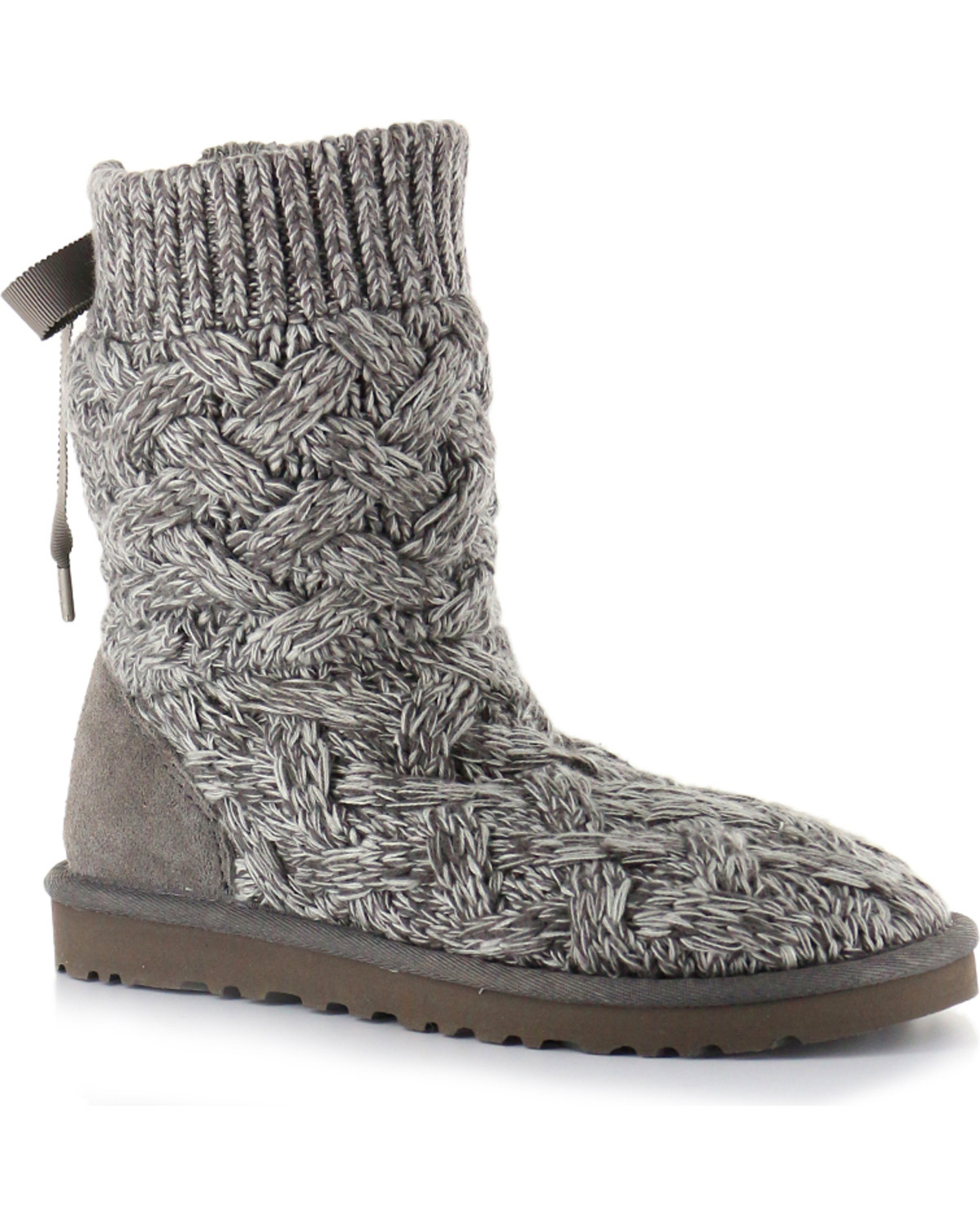 grey fold up/down knit uggs.