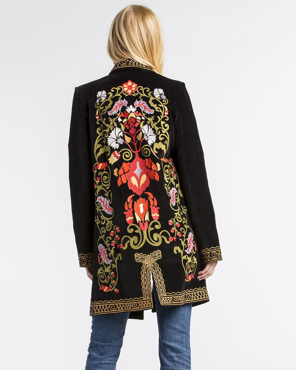 Mm vintage women s black electric lady embroidered blazer