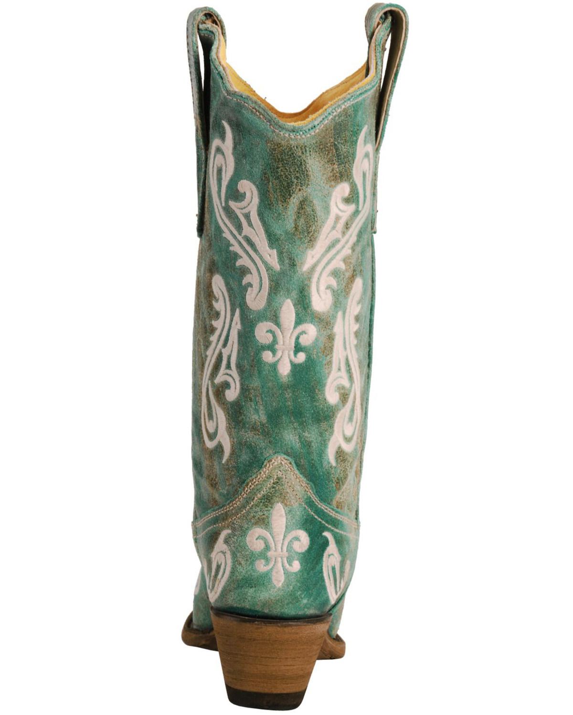 corral cortez fleur de lis turquoise cowgirl boots snip toe
