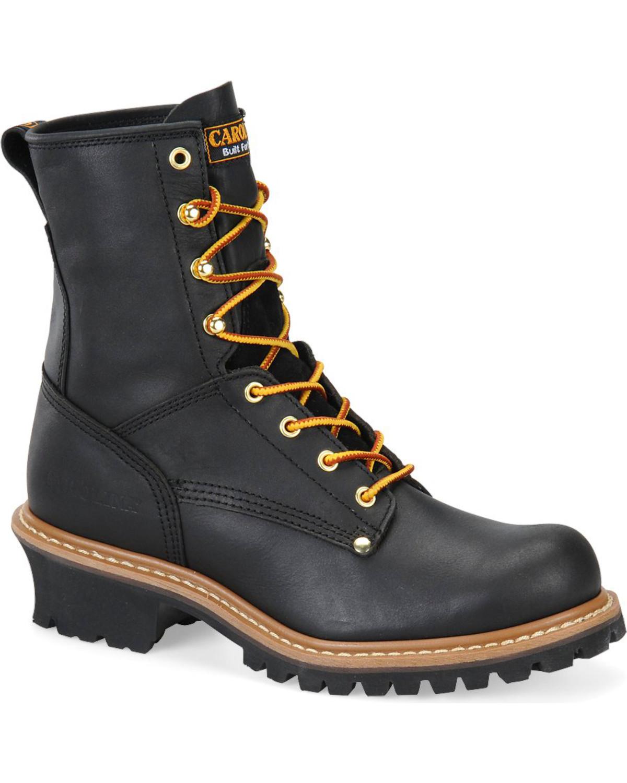 Carolina Men S Black Logger Boots Round Toe Boot Barn