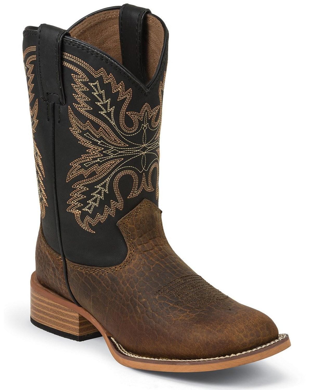 Justin Kid S Bent Rail Square Toe Western Boots Boot Barn