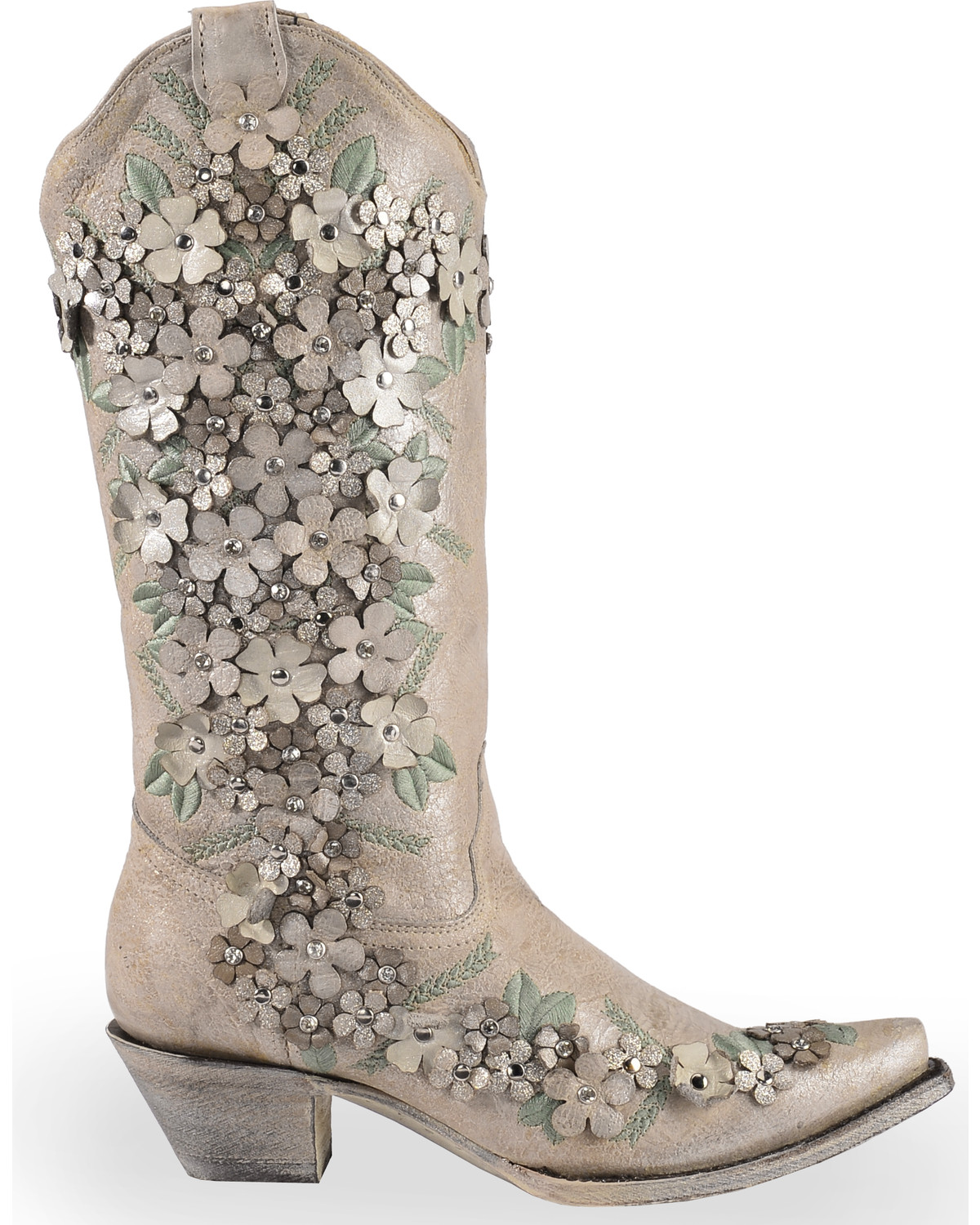 Overlay and Star Embroidery Studded Block Heel Boots sgUinSU