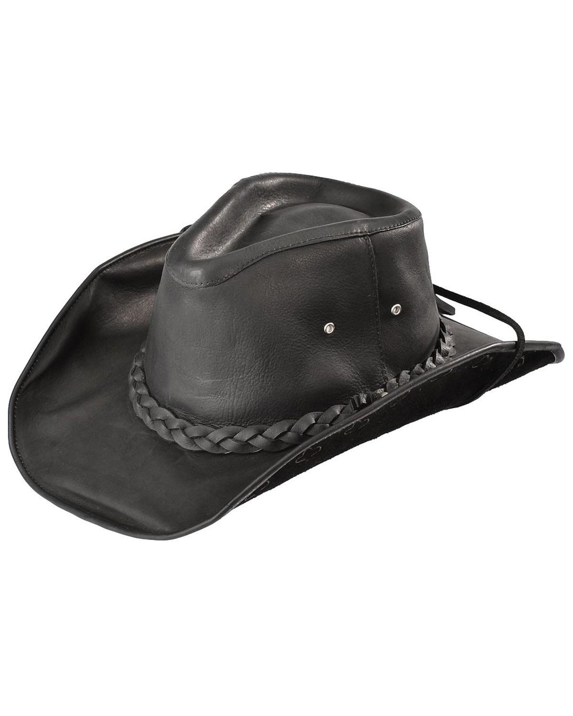 Bullhide Men S Black Melbourne Leather Hat Boot Barn