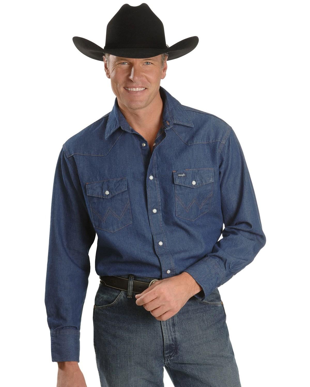 Wrangler men 39 s cowboy cut work denim shirt boot barn for Mens denim work shirt