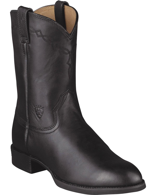 Ariat Mens Heritage Roper 10 Western Boots, Black, hi-res