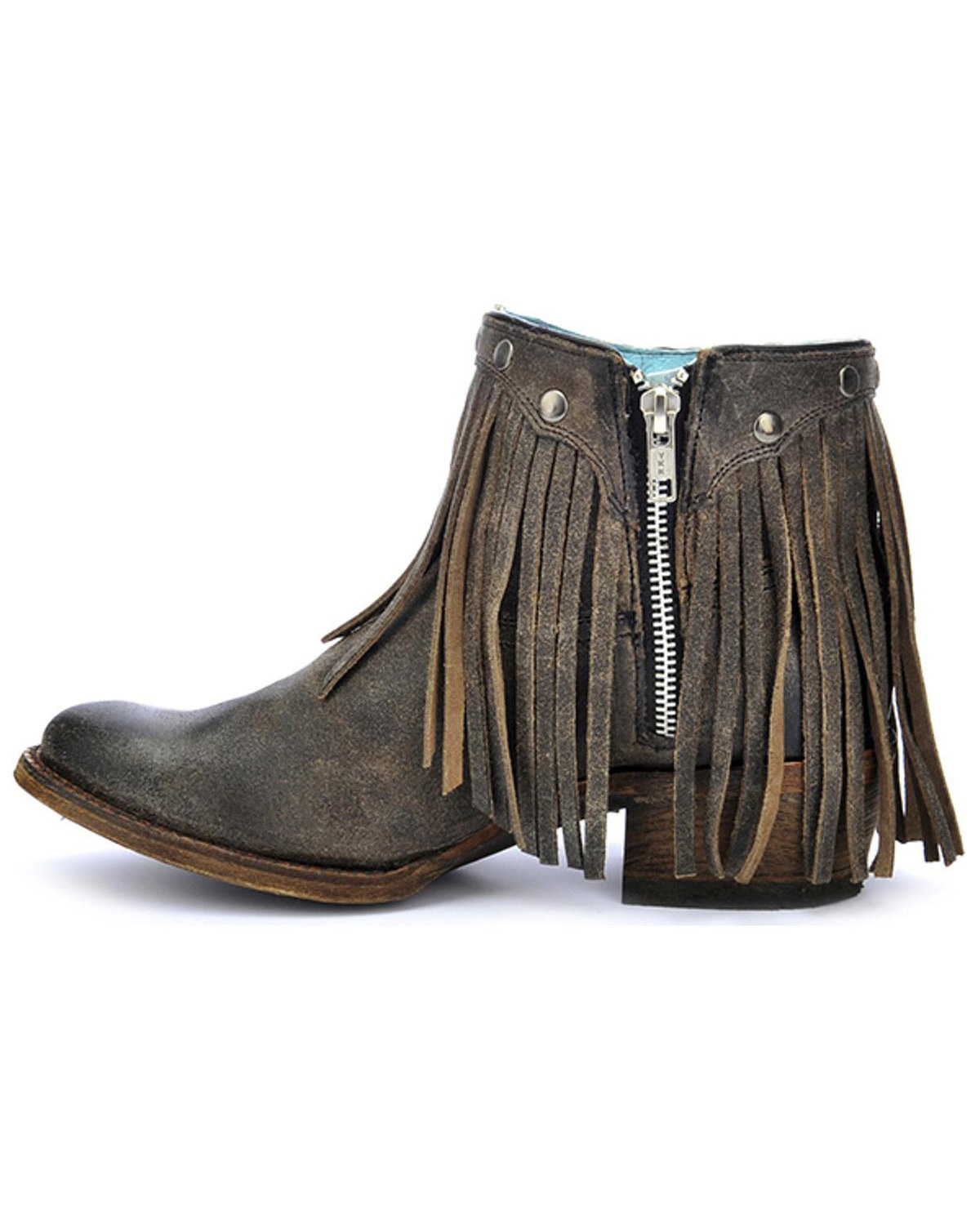 Corral Women S Fringe Round Toe Western Booties Boot Barn