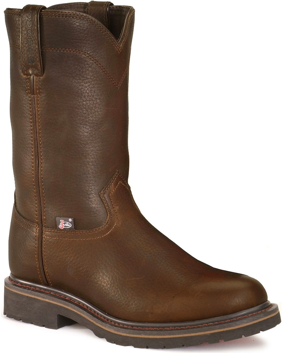 Justin Mens 10 Steel Toe Trapper Western Work Boots, Brown, hi-res