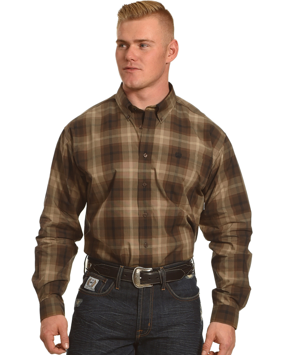 Cinch Men's Brown Plain Weave Plaid Long Sleeve Button Down Shirt ...