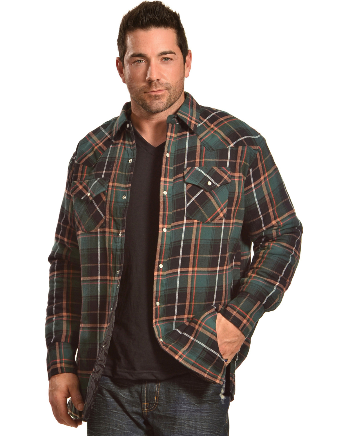 Ely Cattleman Men's Green Quilted Flannel Shirt Jacket - Tall ...