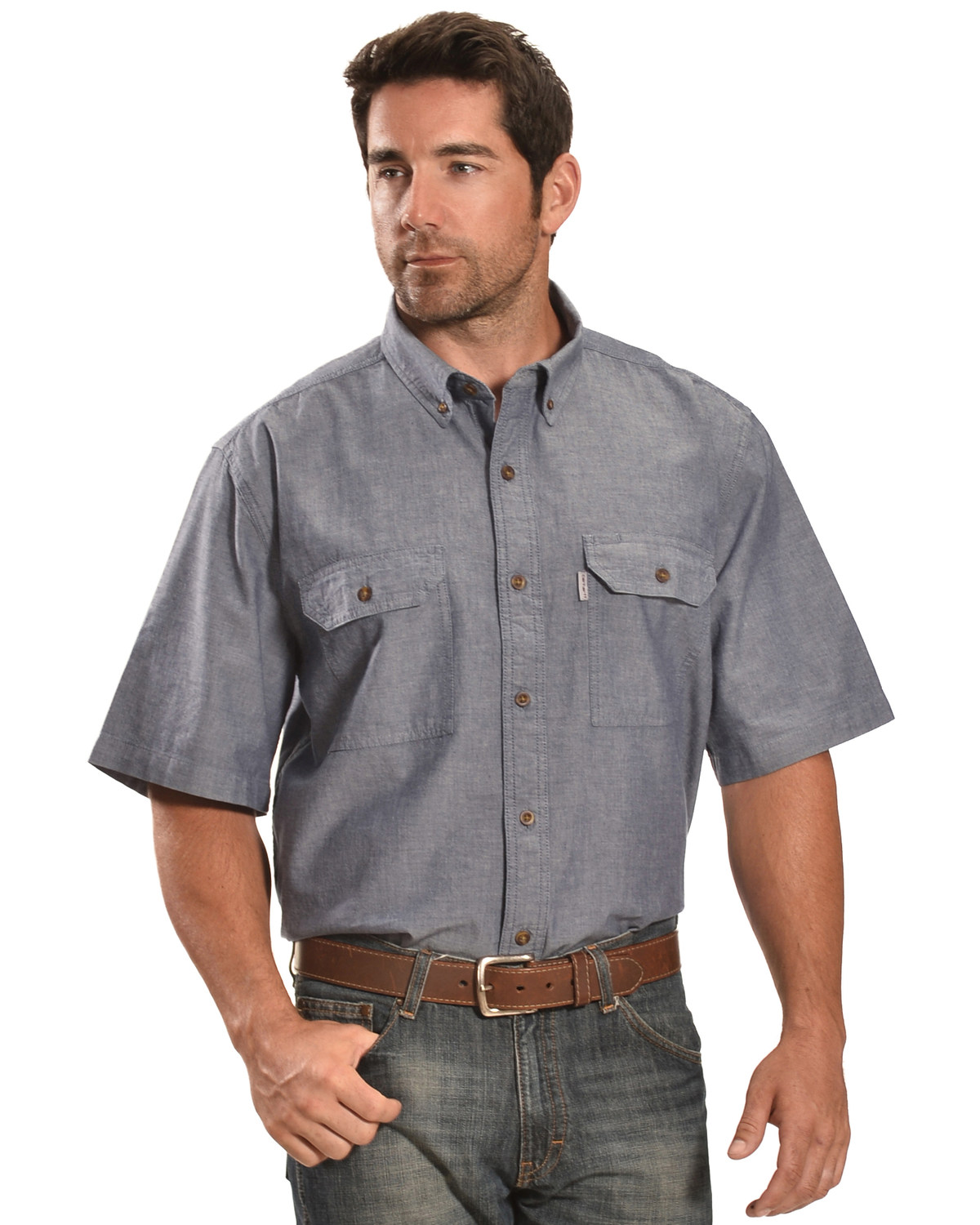 The best chambray shirts are cut to fit a bit slimmer than a dress shirt, and they should work to layer over your favorite henley or crewneck tee, or be rocked on their own to the beach.